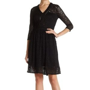 NWT Black V-Neck Lace Dress Size 6